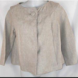 Isaac Mizrahi Linen Pea Coat Beige Jacket Size 6